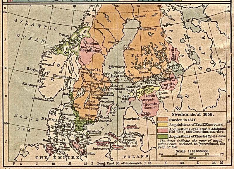 Карты Швеции в 1658 году
