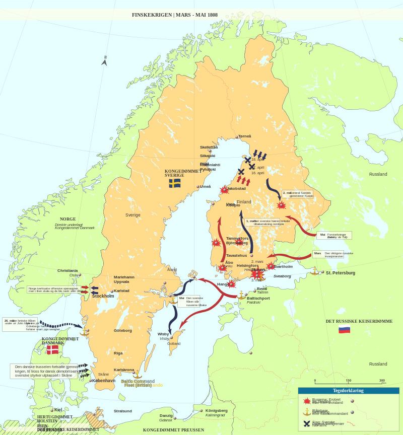 Ход войны в марте-мае 1808 г. На норвежском языке